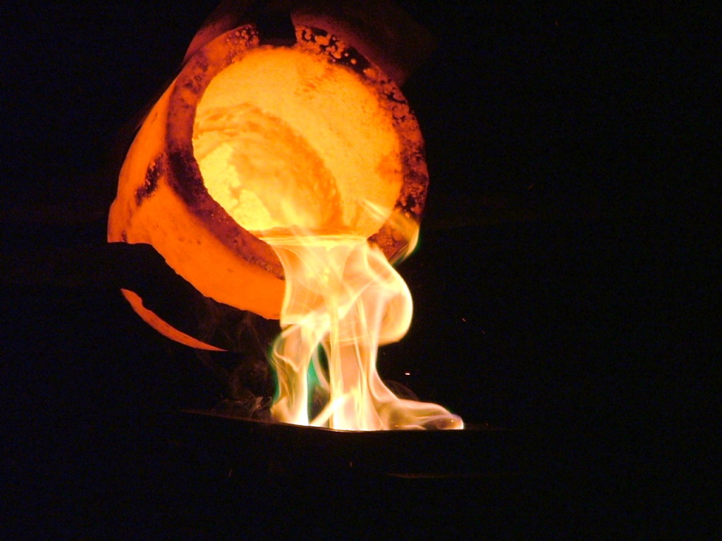 Gold being poured out of a Crucible